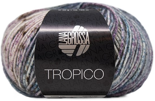 Lana Grossa Tropico 008 Dark Petrol / Antique Violet / White / Dark Grey / Old Pink / Khaki
