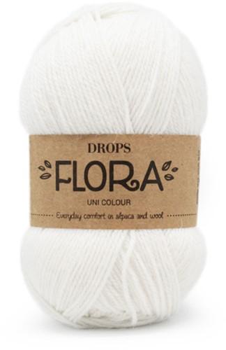 Drops Flora Uni Colour 02 White
