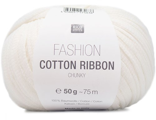 Fashion Cotton Ribbon Chunky Sweater Strickpaket 3 36/40 White