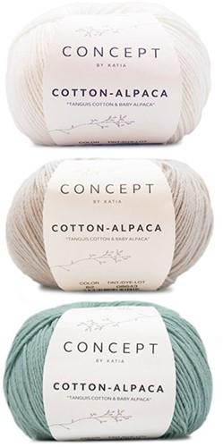 Cotton-Alpaca Sweater Strickpaket 1 38/44 Beige Grey - White - Mint