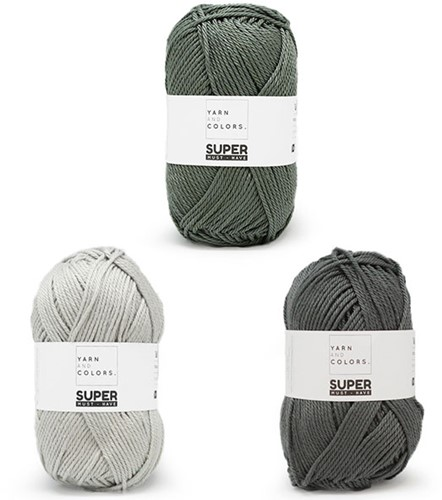 Super Must-Have Kissen Häkelpaket 3 Graphite / Pea Green / Silver