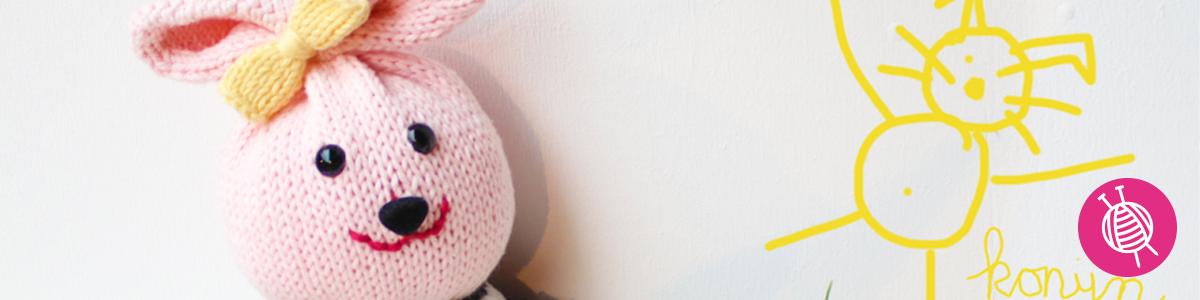 Kuschelkaninchen stricken - gratis Anleitung für ein Spieltier