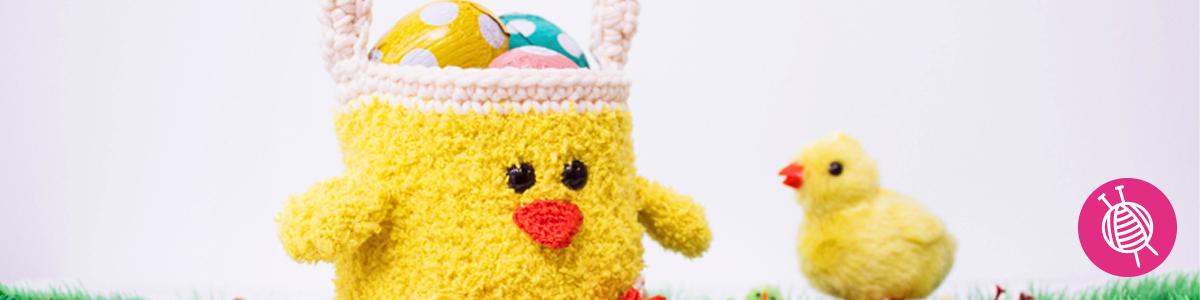 Gehäkeltes Osterkükenkörbchen - gratis Anleitung für Ostern
