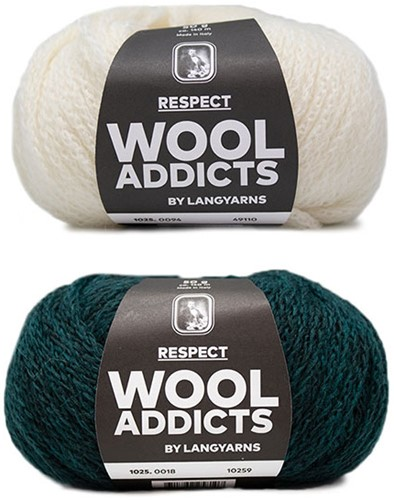 Wooladdicts Hidden Feelings Pullover Strickpaket 2 S Moss Mélange / Off-White