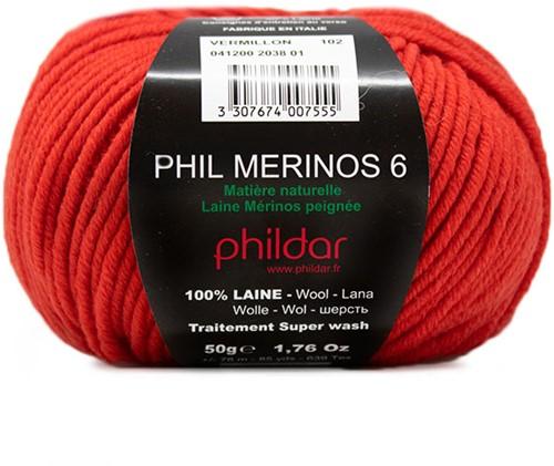 Phildar Phil Merinos 6 2038 Vermillon