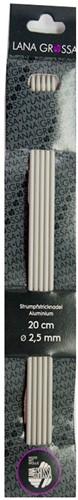Lana Grossa 20cm Aluminium Strumpfstricknadeln 5mm