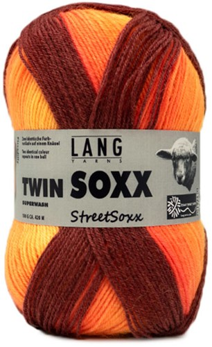 Lang Yarns Twin Soxx Streetsoxx 4-PLY 239 Orange Mix