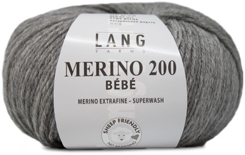 Lang Yarns Merino 200 Bebe 303 Light Grey Mélange