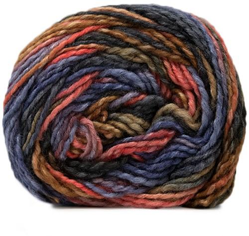 Lana Grossa Gomitolo Conseta 703 Coral/Camel/Purple Blue/Dark Gray