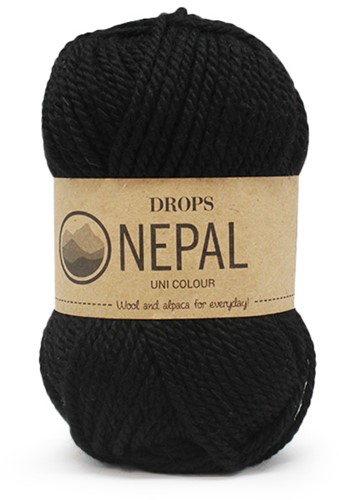 Drops Nepal Uni Colour 8903 Schwarz