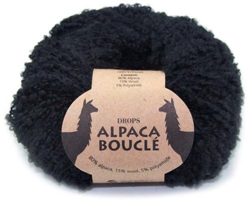 Drops Alpaca Bouclé Uni Colour 8903 Black
