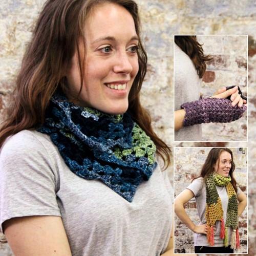Häkelanleitung Stylecraft Batik Swirl DK No. 9489 Schal, Loop und Handschuhe