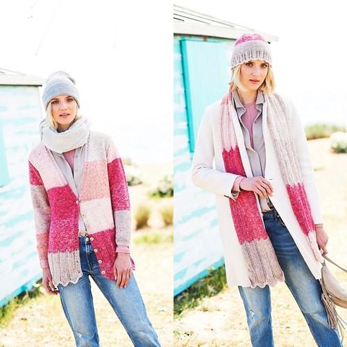 Strickanleitung Stylecraft Batik Swirl DK No. 9675 Jacke, Schal und Mütze