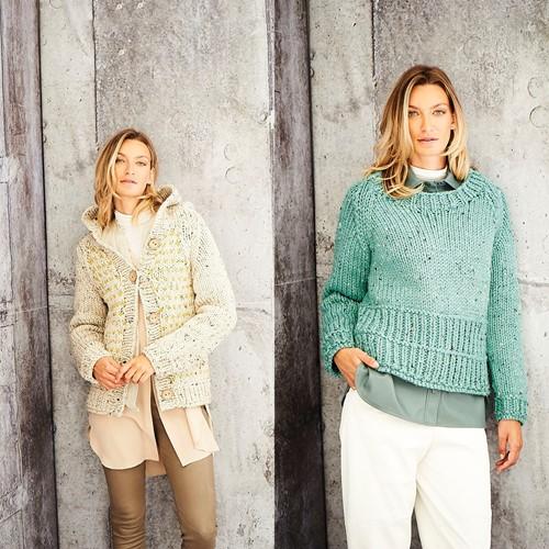 Strickanleitung Stylecraft Special XL Tweed Super Chunky No. 9808 Jacke und Pullover