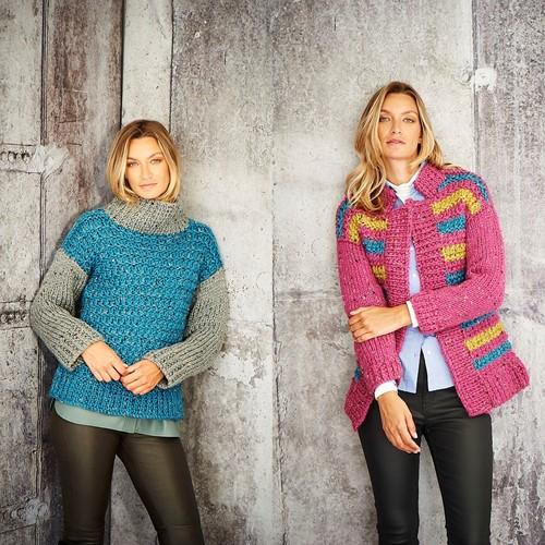 Strickanleitung Stylecraft Special XL Tweed Super Chunky No. 9809 Pullover und Jacke