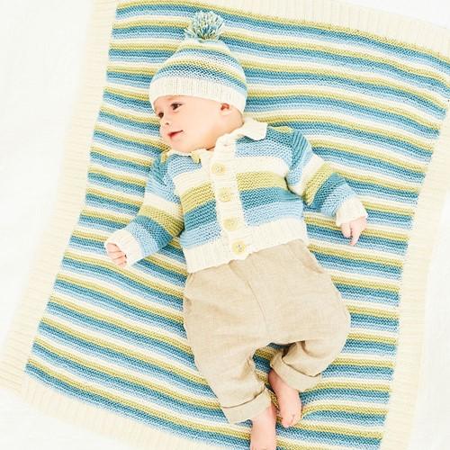 Strickanleitung Stylecraft Naturals - Bamboo + Cotton DK No. 9831 Jacke, Mütze und Babydecke