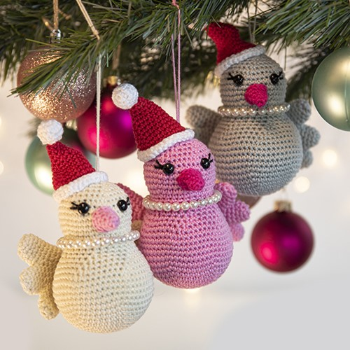 Vogel Weihnachtsbaumanhänger Häkelpaket