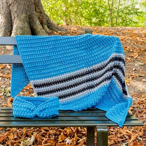Yarn and Colors Criss Cross Dot Scarf Häkelpaket 069 Petrol Blue