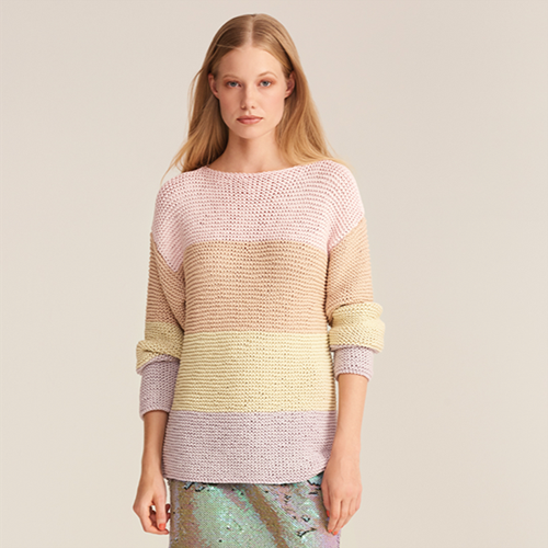Fashion Cotton Ribbon Chunky Pullover Strickpaket 40/46 Multicolor