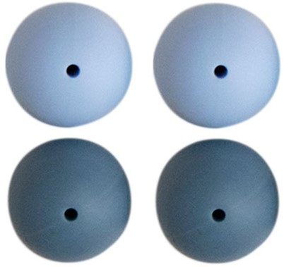 Silikonperlen 4 Stück 23 Blau Mix