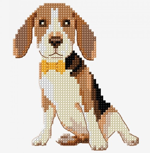 Stickanleitung Hund Beagle