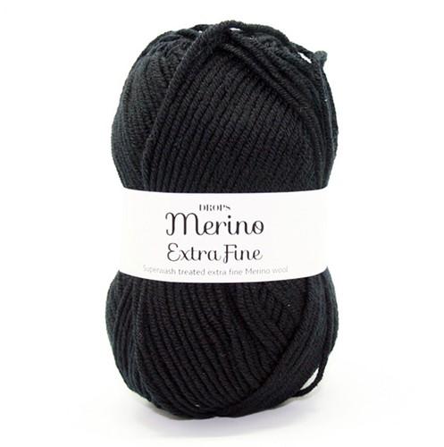 Drops Merino Extra Fine Uni Colour 02 Schwarz