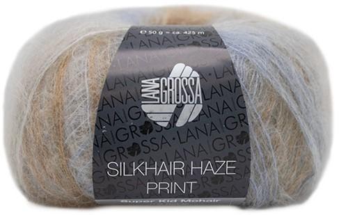 Lana Grossa Silkhair Haze Print 1209 Silver / Light Gray / Light Blue / Chocolate Brown