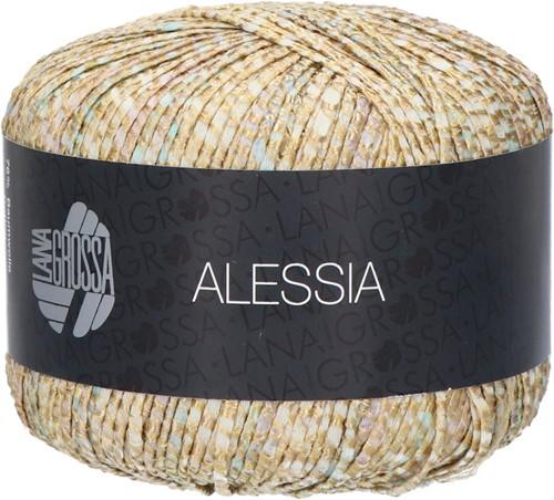 Lana Grossa Alessia 004 Golden yellow / light gray / gray brown