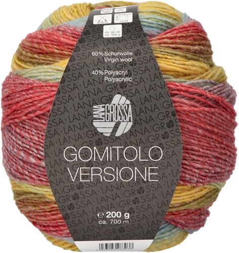 Lana Grossa Gomitolo Versione 419 Petrol/olive/mustard/eggplant/blackberry/gray blue