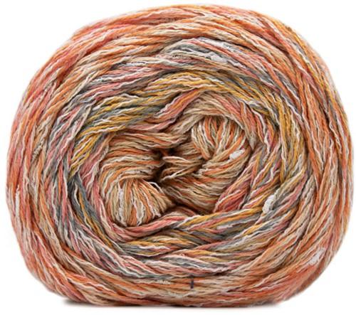 Lana Grossa Gomitolo Summer Tweed 002 Orange / Salmon / Yellow / Raspberry / Nature / Blue-Grey