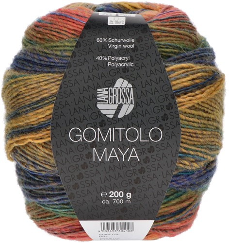 Lana Grossa Gomitolo Maya 851 Green/petrol/brown/salmon/orange/yellow/turquoise/royal