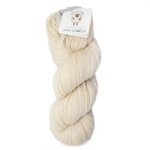 Lana Grossa Slow Wool Lino 001 Raw White
