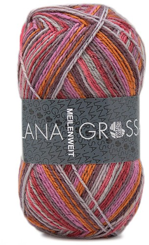 Lana Grossa Meilenweit 100 Glamy 2702 Red/Orange/Purple/Gray