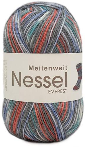 Lana Grossa Meilenweit 100 Nessel Everest 5131 Dark gray / red / lavender / white / turquoise
