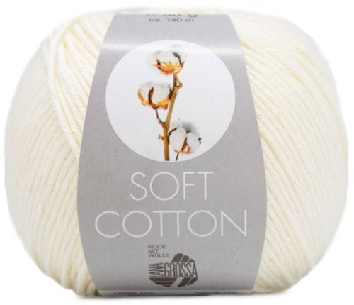 Lana Grossa Soft Cotton 002 Ecru