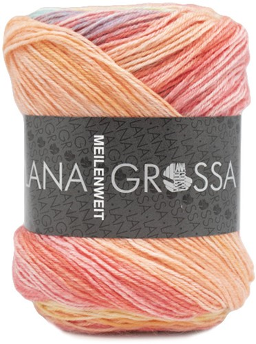Lana Grossa Meilenweit 100 Sorbetto 6251 Red / Light orange / Yellow / Green