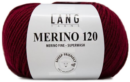 Lang Yarns Merino 120 163 Dark Red