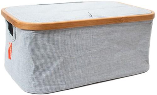 Faltbare Aufbewahrungsbox grobes Leinen und Bambus Blau