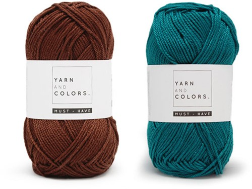 Yarn and Colors Must-Have Cushion Häkelpaket 2 Petroleum / Brownie