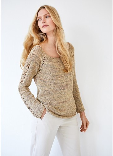 Alessia Ajour Pullover Strickpaket 1 36/38 Golden yellow / light gray / gray brown