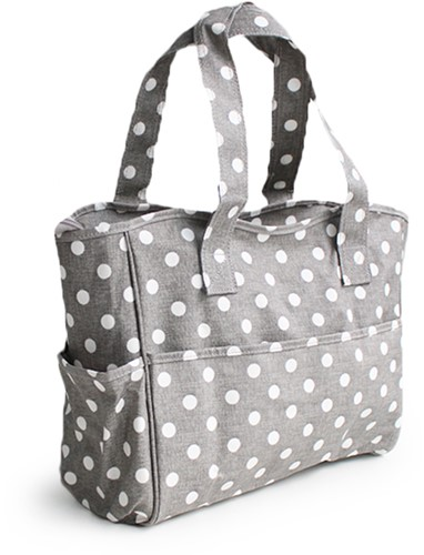 Hobbytasche Grey Linen Polka Dot