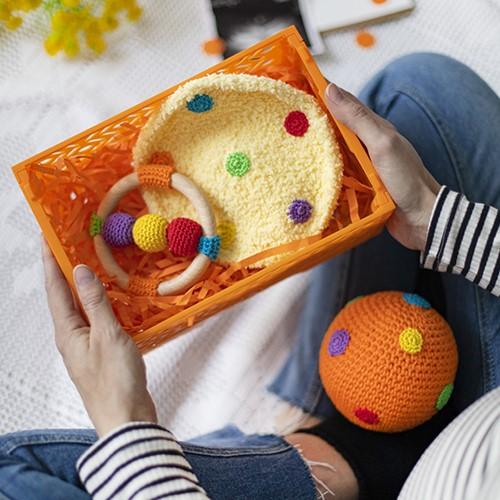Babypaket Orange Bälle Häkelpaket