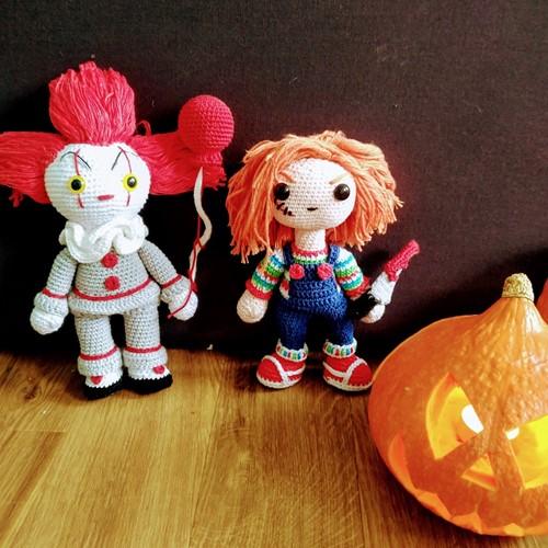 Häkelanleitung Chucky der Mörderpuppe & Pennywise der Clown