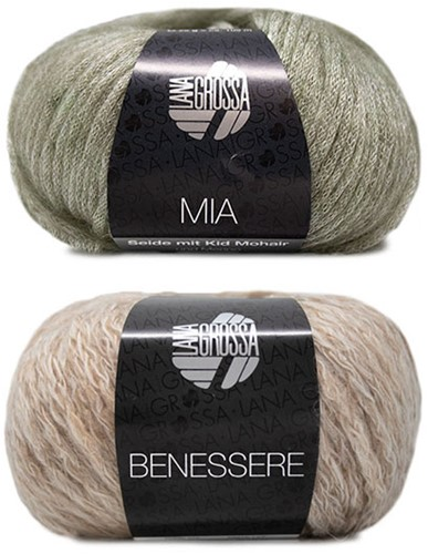 Benessere Kurzpullover Strickpaket 1 36/38 Beige / Green-Grey