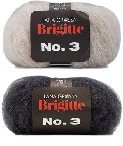 Brigitte no. 3 Umschlagtuch Strickpaket 1 Anthracite/Beige