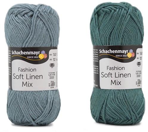 Soft Linen Mix Kalea Sommerjäckchen Häkelpaket 2 32/34 Ice Blue / Green