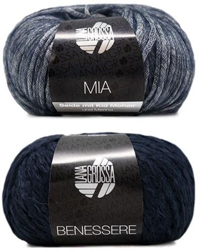 Benessere Kurzpullover Strickpaket 2 36/38 Night Blue / Grey-Blue
