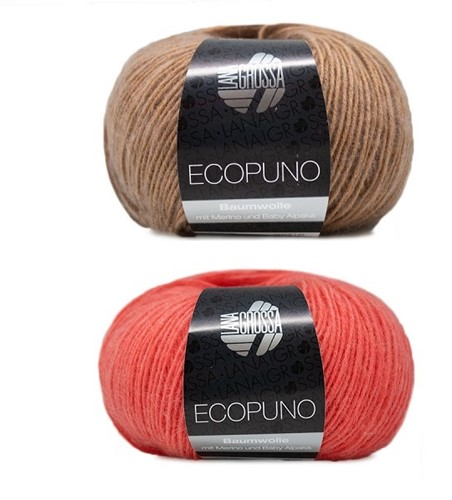 Ecopuno Streifenpullover Strickpaket 1 36/38 Camel / Salmon