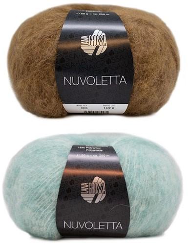 Nuvoletta Raglanmantel Strickpaket 1 Camel/Turquoise 36/40