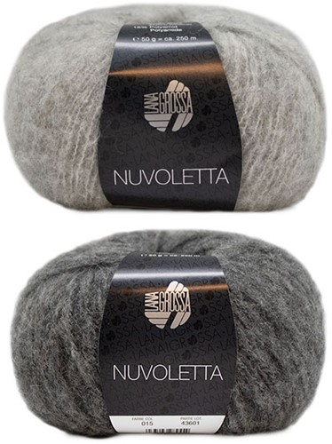 Nuvoletta Raglanmantel Strickpaket 2 Light/Dark Grey 48/50
